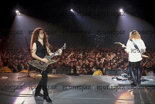 Megadeth - Marty Friedman and Dave Mustaine - performing live on the Countdown To Extinction Tour at the NEC Centre in Birmingham UK - 27 Sep 1992.  Photo credit: Pete Cronin/IconicPix