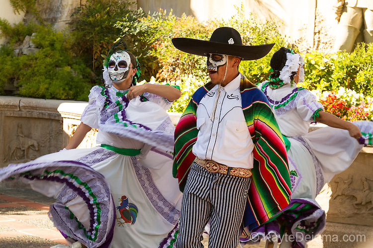 Calavera dancers at the Mexican Day of the Dead celebration at the Bowers Museum in Santa Ana, CA