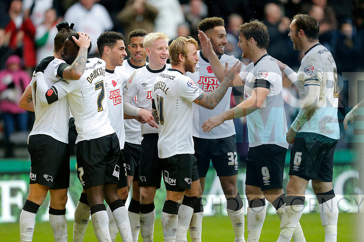 Many smiling faces amongst the Derby side following their fourth goal of the game - Football - Sky Bet Championship - Derby County vs Wolverhampton Wanderers - iPro Stadium Derby - Season 2014/15 - 8th November 2014 - Photo Malcolm Couzens/Sportimage