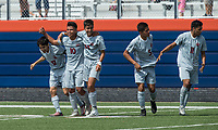 NWA Democrat-Gazette/BEN GOFF @NWABENGOFF<br /> Springdale celebrates a goal against Fort Smith Northside Saturday, May 12, 2018 during the semifinal match in the boys 7A state soccer tournament in Gates Stadium at Rogers Heritage.