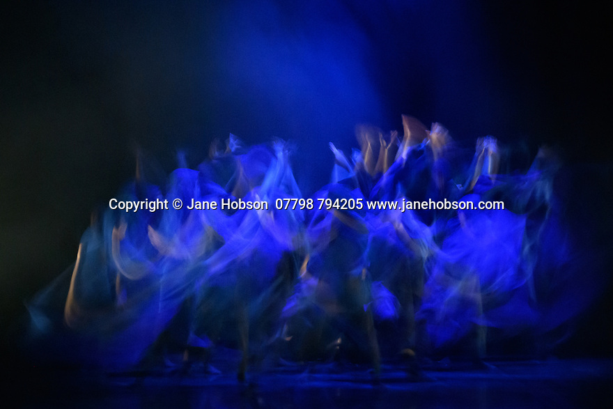 "Leeds, UK. 03.12.2019. Second Year students of BA (Hons) Dance (Contemporary), at the Northern School of Contemporary Dance, present work as part of NEW GROUND, in the Riley Theatre. This piece is: ""Drowning in your own sins"" by choreographer Yukiko Masui, in collaboration with the dancers. Lighting desing is by Mark Baker, with costume design by Melissa Burton. The dancers are: Caitlin Kai Lin Chiang, Chiara de Craene, Bailey Dowler, Martine Grolid, Zara Lee, Martha Pigg, Harry Rule, Cushla Sutherland, Imogen Wright, Brannon Yau. Photograph © Jane Hobson."