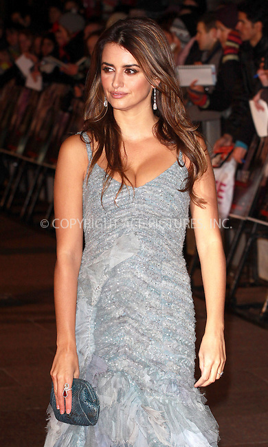 WWW.ACEPIXS.COM . . . . .  ..... . . . . US SALES ONLY . . . . .....December 3 2009, London....Actress Penelope Cruz arriving at the World Premiere of 'Nine' at Odeon Leicester Square on December 3, 2009 in London, England.....Please byline: FAMOUS-ACE PICTURES... . . . .  ....Ace Pictures, Inc:  ..tel: (212) 243 8787 or (646) 769 0430..e-mail: info@acepixs.com..web: http://www.acepixs.com