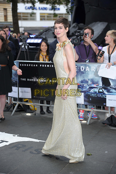 Anne Hathaway (wearing Gucci).'The Dark Knight Rises' European premiere at Odeon Leicester Square cinema, London, England..18th July 2012.full length embellished jewel encrusted flowers floral pearls collar short cropped hair sleeveless silver gold cream beige dress cut out sides side.CAP/CAS.©Bob Cass/Capital Pictures.