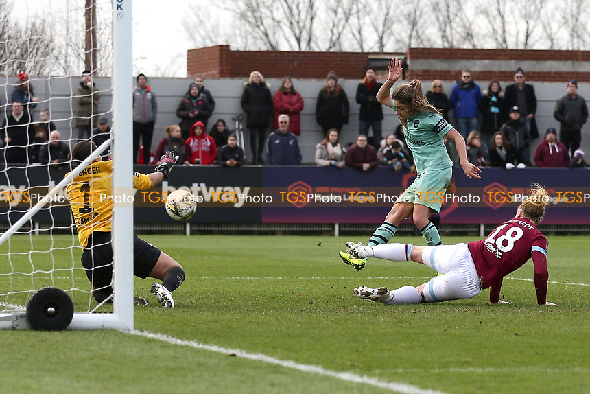 Danielle van de Donk of Arsenal scores the third goal for her team during West Ham United Women vs Arsenal Women, FA Women's Super League Football at Rush Green Stadium on 6th January 2019