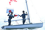 Tetsuya Isozak & Akira Takayanagi (JPN), <br /> AUGUST 31, 2018 - Sailing : Men's 470 Race at Indonesia National Sailing Center during the 2018 Jakarta Palembang Asian Games in Jakarta, Indonesia. <br /> (Photo by MATSUO.K/AFLO SPORT)
