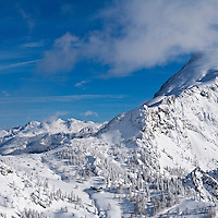 Schneibsteinhaus and Torrener Joch pass (1733m) in winter viewed from Jenner, Berchtesgaden national park, Germany