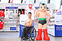 (L-R) <br /> Hiroshi Miura, <br /> Astro Boy, <br /> JULY 28, 2016 : Press conference for Tokyo 2020 Olympic and Paralympic games <br /> official merchandise shop at Ginza in Tokyo, Japan. <br /> Official merchandise shops will be open for an only limited time at Ginza and Shibuya. <br /> (Photo by AFLO SPORT)