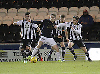 Paul Watson being pressured by Stephen Mallan (left) and Jordan Stewart in the St Mirren v Falkirk Scottish Professional Football League Ladbrokes Championship match played at the Paisley 2021 Stadium, Paisley on 1.3.16.