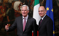Il Presidente del Consiglio Enrico Letta accoglie il Commissario Europeo per il Mercato interno ed i Servizi Michel Barnier, left, a Palazzo Chigi, Roma, 8 luglio 2013.<br /> Italian Premier Enrico Letta prepares to welcome European Commissioner for Internal Market and Services Michel Barnier, left, at Chigi Palace, Rome, 8 July 2013.<br /> UPDATE IMAGES PRESS/Isabella Bonotto