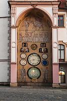 Astonomical Clock on side of Town Hall building, Olomouc, Czech Republic