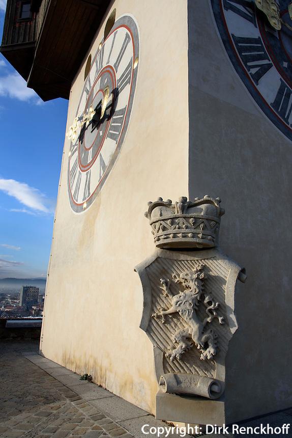 Wappen am Uhrturm auf dem Schlossberg, Graz, Steiermark, &Ouml;sterreich<br /> Clock tower and coat of armson castle hill, Graz, Styria, Austria