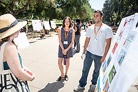 Nicole Golden and Jacob Palumbo, Red Hen Press<br /> 2018 InternLA student participants share their poster presentations about their summer experiences working as interns in Los Angeles. Summer Experience Expo, Sept. 13, 2018 in the Academic Quad. Hosted by Career Services.<br /> (Photo by Marc Campos, Occidental College Photographer)