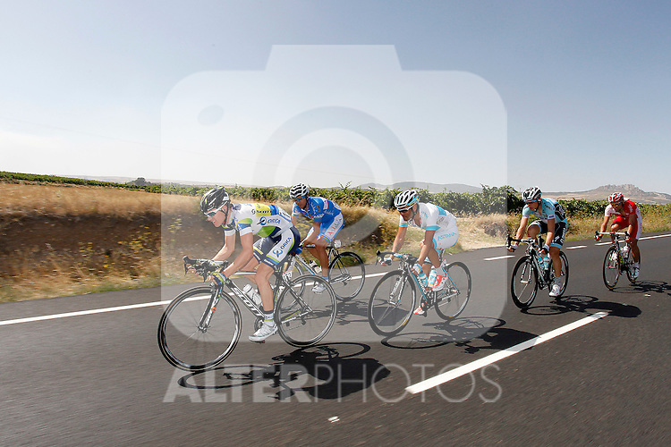 Simon Clarke (Orica-GreenEdge), Tony Martin (Omega Pharma-QuickStep), Luis Angel Mate (Cofidis), Jesus Rosendo (Andalucia) and Assan Bazayev (Astana) during the stage of La Vuelta 2012 between Barakaldo and Valdezcaray.August 21,2012. (ALTERPHOTOS/Paola Otero)