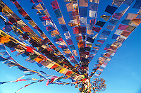 Tibetan prayer flags on Parphing hill.