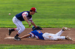 TORRINGTON,  CT-072419JS23--Wolcott Storm's Cameron Maldonado (3) slides safely into second base as the throw skips past CC Armour's Trevor Moore (9) during their Mickey Mantle World Series game Wednesday at Fuessenich Park in Torrington. <br />  Jim Shannon Republican American