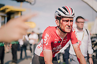 A blooded Tiesj Benoot (BEL/Lotto-Soudal) crosses the finish line last and is immediatly taken to the ambulance &amp; hospital for a proper check-up<br /> <br /> Stage 4: La Baule &gt; Sarzeau (192km)<br /> <br /> 105th Tour de France 2018<br /> &copy;kramon