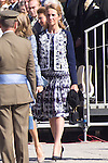 01.10.2012. The Spanish Royal Family, King Juan Carlos, Queen Sofia, Prince Felipe, Princess Letizia and Princess Elena attend the imposition of collective Distinguished Cross San Fernando Al Banner Armored Cavalry Regiment ´Alcántara´ No. 10 in the Royal Palace in Madrid, Spain. In the image Princess Elena of Spain  (Alterphotos/Marta Gonzalez)