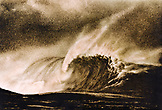 FIJI, large breaking wave at Frigates Pass (B&W)