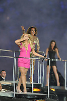 Spice Girls.Emma Bunton aka Baby Spice , Melanie Brown aka Scary Spice, Victoria Beckham aka Posh Spice .Londra 12/08/2012 Olympic Stadium.London 2012 Olympic Games Closing Ceremony.Olimpiadi Londra 2012 Cerimonia d chiusura.Foto Insidefoto Giovanni Minozzi.