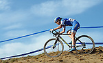 October 17, 2015 - Boulder, Colorado, U.S. - Elite cyclist, Georgia Gould, navigates a difficult off-camber decent during the U.S. Open of Cyclocross, Valmont Bike Park, Boulder, Colorado.