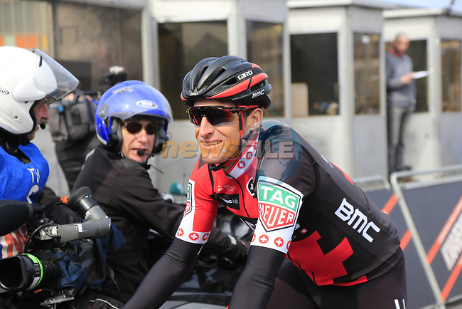 Martin Elmiger (SUI) BMC Racing Team at the start line of the 60th edition of the Record Bank E3 Harelbeke 2017, Flanders, Belgium. 24th March 2017.<br /> Picture: Eoin Clarke | Cyclefile<br /> <br /> <br /> All photos usage must carry mandatory copyright credit (&copy; Cyclefile | Eoin Clarke)