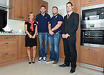 Redrow's (L-R)  Joanne Hammond with Cardiff Blues, Wales and British and Irish Lions player Alex Cuthbert,  Cardiff Blues Rhys Williams and Dan Shone at the official opening of the site  <br /> <br /> Redrow Homes Official opening of  at Belle View at Mon Bank Newport with Cardiff Blues Players Alex Cuthbert and Rhys Williams - Newport <br /> <br /> &copy; www.sportingwales.com- PLEASE CREDIT IAN COOK