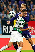 ANDERLECHT, BELGIUM - SEPTEMBER 27 :Lukasz Teodorczyk forward of RSC Anderlecht and Mikael Lustig defender of Celtic FC   during the Champions League Group B  match between RSC Anderlecht and Celtic FC on September 27, 2017 in Anderlecht, Belgium, 27/09/2017 <br /> Foto Photonews/Panoramic