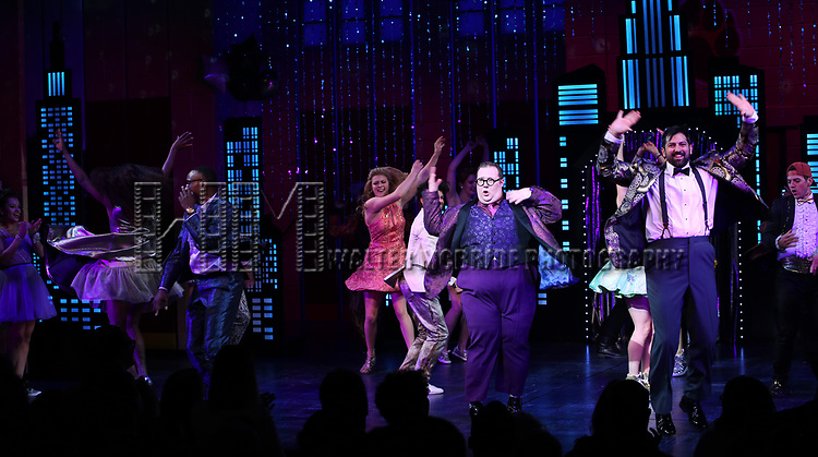 """Josh Lamon and cast during the Broadway Opening Night Curtain Call of """"The Prom"""" at The Longacre Theatre on November 15, 2018 in New York City."""