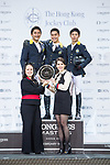 Nathaniel Chan of Hong Kong riding Lay Your Love On Z celebrates winning the HKJC Junior Trophy with the second placed Yu An Su of Hong Kong riding Chardonay Hara Des Barrages and the third placed Justin Yeung of Hong Kong riding Clintorado during the Longines Masters of Hong Kong at AsiaWorld-Expo on 11 February 2018, in Hong Kong, Hong Kong. Photo by Ian Walton / Power Sport Images