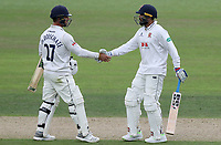 Murali Vijay is congratulated by Ryan ten Doeschate having scored fifty runs on his debut during Nottinghamshire CCC vs Essex CCC, Specsavers County Championship Division 1 Cricket at Trent Bridge on 10th September 2018
