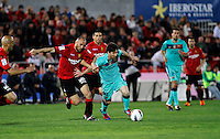 24.02.2012. Mallorca, Spain. La Liga Picture show Leo Messi in action during match between Real Mallorca against FC Barcelona at Iberostar Estadi