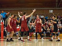 STANFORD, CA - March 10, 2018: Cole Paullin, Mason Tufuga, Matt Klassen, Eli Wopat, Evan Enriques at Burnham Pavilion. The Stanford Cardinal lost to UC Irvine, 3-0.
