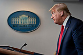 United States President Donald J. Trump pauses after speaking during a news conference in the Brady Press Briefing Room of the White House in Washington, D.C., U.S., on Friday, May 22, 2020. Trump ordered states to allow churches to reopen from stay-at-home restrictions imposed to combat the coronavirus outbreak, saying he would override any governor who refuses. <br /> Credit: Andrew Harrer / Pool via CNP