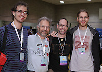 OrigamiUSA 2013 attendees (L to R) Benjamin Parker, Connecticut, Martin Demaine, Boston, Jeffrey Rutsky, New York, Eric Demaine, Boston.