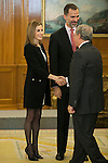 Spanish Royals King Felipe VI of Spain and Queen Letizia of Spain receive Cinema Academy President Enrique Gonzalez Macho and Cinema Arts and Sciences Board of Directors during a Royal Audience at Zarzuela Palace in Madrid, Spain. December 15, 2014. (ALTERPHOTOS/Victor Blanco)