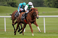 15th May 2020, Muenchen-Riem racecourse, Munich, Germany. Flat racing;  Wahiba Sands with Rene Piechulek up rides for the finish line