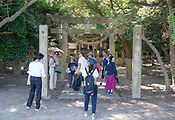 A Shinto Shrine on Okunoshima, aka Rabbit Island in Hiroshima Prefecture Japan.