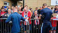 Fans get autographs from the Sheffield Wednesday players as they arrive at the ground<br /> <br /> Photographer Chris Vaughan/CameraSport<br /> <br /> Football Pre-Season Friendly - Lincoln City v Sheffield Wednesday - Saturday July 13th 2019 - Sincil Bank - Lincoln<br /> <br /> World Copyright © 2019 CameraSport. All rights reserved. 43 Linden Ave. Countesthorpe. Leicester. England. LE8 5PG - Tel: +44 (0) 116 277 4147 - admin@camerasport.com - www.camerasport.com