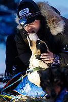 Volunteer veterinarian Dr. Kimberly McCreedy examines a Mats Pettersson dog at the Takotna checkpoint during the 2019 Iditarod on Wednesday, March 6th 2019.<br /> <br /> Photo by Jeff Schultz/  (C) 2019  ALL RIGHTS RESERVED