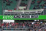 09.09.2017, Volkswagen Arena, Wolfsburg, GER, 1.FBL, VfL Wolfsburg vs Hannover 96<br /> <br /> im Bild<br /> Banner, Fanprotest in G&auml;stetrib&uuml;ne der Hannover 96 Fans, &quot;DFB-Korruptionsm&auml;rchen 2006 - schonungslose Aufkl&auml;rung - jetzt!&quot; und &quot;Kind muss Weg&quot;, <br /> <br /> Foto &copy; nordphoto / Ewert