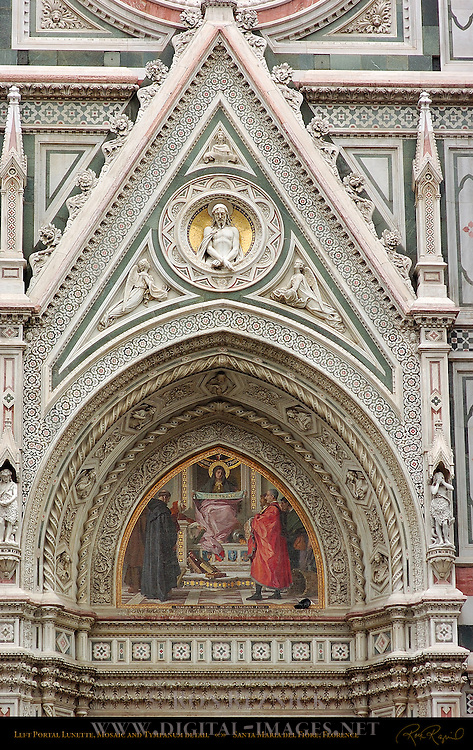 19th c Left Portal Detail Lunette Mosaic Barabino Tympanum Relief Christ Bound Passaglia Adam and Eve in Sheepskins Santa Maria del Fiore Florence
