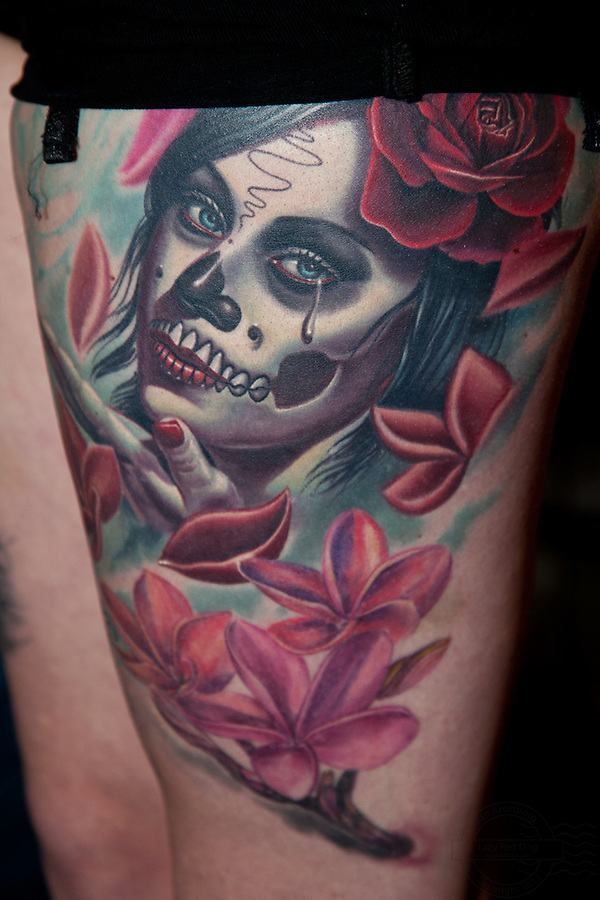 Copenhagen Inkfestival 2012. Mexican death mask tattoo with rose and leafs