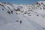 Skiing towards Albona 1 Chairlift at Stuben Ski Area, St Anton, Austria,