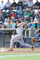Brad Moss (7) of the Salem-Keizer Volcanoes bats during a game against the Hillsboro Hops at Ron Tonkin Field on July 26, 2015 in Hillsboro, Oregon. Hillsboro defeated Salem-Keizer, 4-3. (Larry Goren/Four Seam Images)