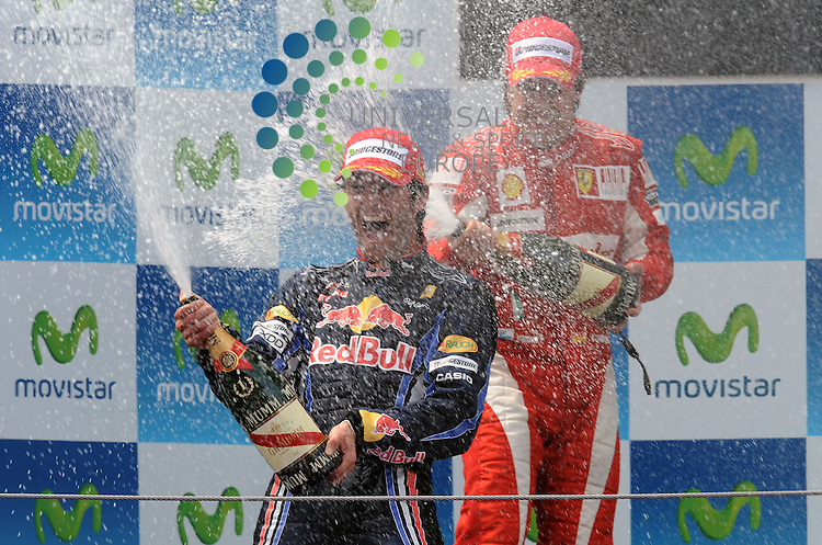F1 GP of Spain, Barcelona 06.-09. May 2010.Podium - Mark Webber (AUS), Red Bull Racing - Fernando Alonso (ESP),  Scuderia Ferrari ..Hasan Bratic;K9 May  2010: Universal News and Sport (Europe)<br />  All pictures must be credited to  www.universalnewsandsport.com. (0ffice) 0844 884 51 22.