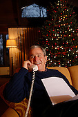 Camp David, MD - December 24, 2008 -- United States President George W. Bush makes his annual Christmas Eve telephone calls to exemplary members of the United States Armed Forces who are stationed in remote locations around the world to wish them a Merry Christmas and Happy New Year and to thank them for their service from Camp David, Maryland on Wednesday, December 24, 2008.  .Credit: Eric Draper - White House via CNP.