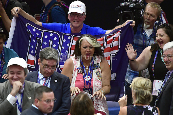 Delegates celebrate on the floor at the 2016 Republican National Convention held at the Quicken Loans Arena in Cleveland, Ohio on Wednesday, July 20, 2016.<br /> Credit: Ron Sachs / CNP/MediaPunch<br /> (RESTRICTION: NO New York or New Jersey Newspapers or newspapers within a 75 mile radius of New York City)