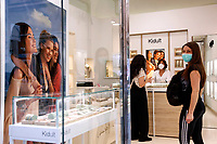 Jewelry shop<br /> Roma May 18th 2020. Covid-19 Italy further relaxes lockdown. Today a Council of Minister's decree will allow almost all the activity to reopen. Clothes shops, shopping centers, hairdresser and churches for religious services. <br /> Photo Samantha Zucchi Insidefoto