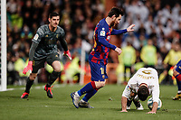 1st March 2020; Estadio Santiago Bernabeu, Madrid, Spain; La Liga Football, Real Madrid versus Club de Futbol Barcelona; Lionel Messi (FC Barcelona) tries to extract the ball from under Carvajal in the Real box