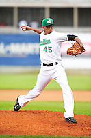 Edwin Diaz #45 of the Clinton LumberKings throws against the Kane County Cougars at Ashford University Field on July 5, 2014 in Clinton, Iowa. The Cougars won 4-0.   (Dennis Hubbard/Four Seam Images)